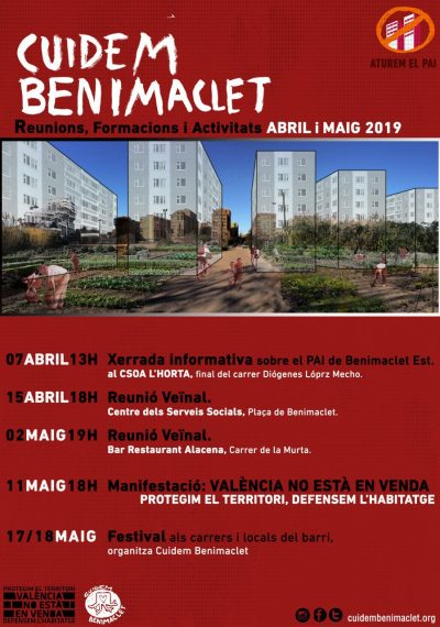 cuidem benimaclet abril i maig 2019